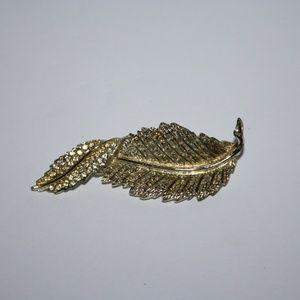 Sarah Cov Gold leaf brooch vintage